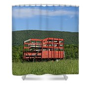 Red Hay Wagon In Green Mountain Field Shower Curtain