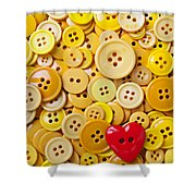 Red Heart And Yellow Buttons Shower Curtain