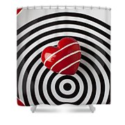 Red Heart On Circle Plate Shower Curtain