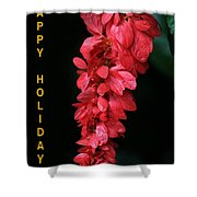 Red Holiday Greeting Card Shower Curtain