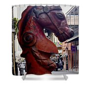 Red Horse Head Post Shower Curtain
