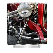 Red Hot Rod- Light And Chrome Shower Curtain