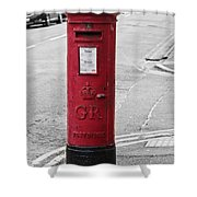 Red King George V Postbox Shower Curtain