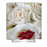 Red Lips And White Roses Shower Curtain