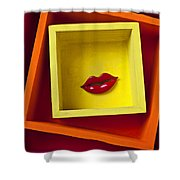 Red Lips In Yellow Box Shower Curtain