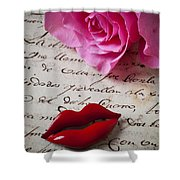 Red Lips On Letter Shower Curtain