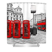 Red London Shower Curtain
