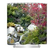 Red Maple Above The Falls Shower Curtain