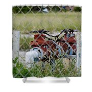 Red Mechanical Valves Shower Curtain