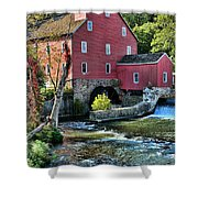 Red Mill On The Water Shower Curtain