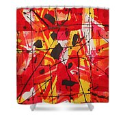 Red Orange Abstract Shower Curtain