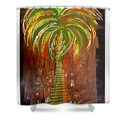 Red Palm Shower Curtain