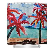 Red Palms Shower Curtain