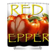Red Peppers On White And Black Shower Curtain