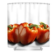 Red Peppers On White Shower Curtain