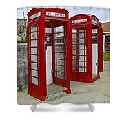 Red Phone Booths Shower Curtain