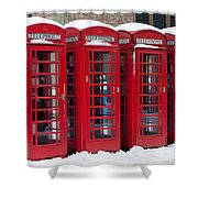 Red Phone Boxes Shower Curtain