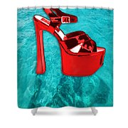 Red Platform Divers Shower Curtain