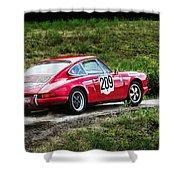 Red Porsche Running Away Shower Curtain