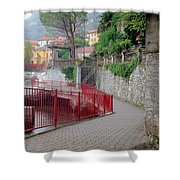 Red Rail Walkway To Varenna Along Lake Como Shower Curtain