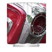Red Retro Chrome Shower Curtain
