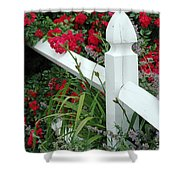 Red Rhododendron And White Post Shower Curtain