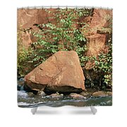 Red Rocks, Fall Colors And Creek, Oak Shower Curtain