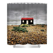Red Roofed Hut Shower Curtain