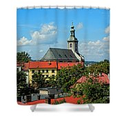 Red Roofed Wonders Shower Curtain