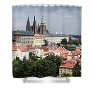 Red Rooftops Of Prague Shower Curtain by Linda Woods