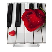Red Rose And Candy Heart Shower Curtain
