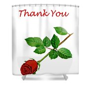 Red Rose Thank You Card Shower Curtain