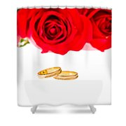 Red Roses And Wedding Rings Over White Shower Curtain