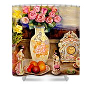 Red Roses Yellow Daffodils In Hand Painted Oriental Antique Vases With Fruit Plate Doves And Angels Shower Curtain