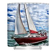 Red Sailboat Green Sea Blue Sky Shower Curtain