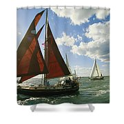 Red-sailed Sailboat And Others Shower Curtain