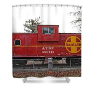 Red Sante Fe Caboose Train . 7d10328 Shower Curtain