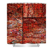 Red Splashes Swishes And Swirls - Abstract Art Shower Curtain
