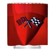 Red Stingray Badge Shower Curtain