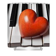 Red Stone Heart On Piano Keys Shower Curtain