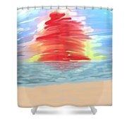 Red Sun Setting Shower Curtain by Heidi Smith