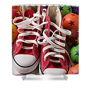 Red Tennis Shoes And Balls Shower Curtain