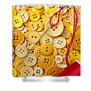Red Thread And Yellow Buttons Shower Curtain