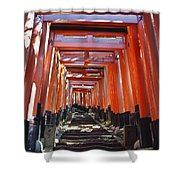 Red Torii Arches Over Steps At Inari Shower Curtain
