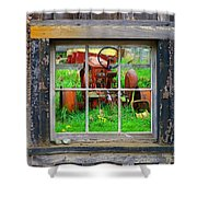 Red Tractor Thru Old Window Shower Curtain