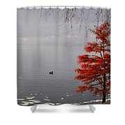 Red Tree On The Lake Front Shower Curtain