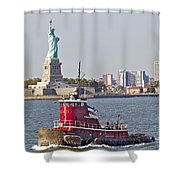 Red Tug Three And Liberty Shower Curtain
