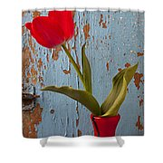 Red Tulip Bending Shower Curtain