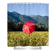 Red Umbrella On The Field Shower Curtain