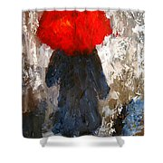 Red Umbrella Under The Rain Shower Curtain